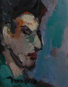 8wx10h 395.00JOSE TRUJILLO MODERN Art ABSTRACT ORIGINAL Oil Painting IMPRESSIONISM PORTRAIT  #Impressionism