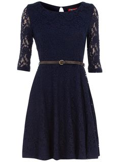 Navy bridesmaid dress from Dorothy Perkins. Might be too hot for June...and would need a different belt.