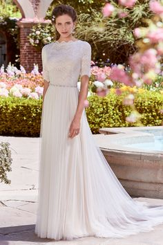 Wedding Dress out of Rebecca Ingram (Cathy Anne), silhouette sheath, floor, 3/4 sleeve