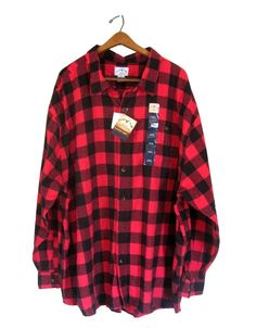 Red Flannel Shirt Men 4X 4XL Black Buffalo Plaid Check Cotton Blue Mountain #BlueMountain #ButtonFront