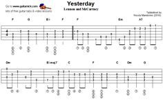 guitarnick | Yesterday, Beatles - fingerstyle guitar tablature 1