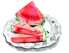 jennifer liked my watermelon-sketch very much. so she asked me to draw her watermelons. here they are. thank you jennifer! do you have a commission for me, too?