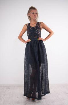 Crochet navy dress KNIT maxi Dress openback linen Dress Maxi Dress Crochet blue…
