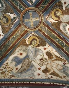 Italy - Latium region - Anagni. Cathedral Crypt. Fresco by Benedictine Masters, 13th century.  Angels of the Apocalypse. Detail - stock photo