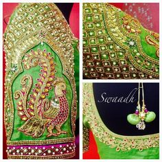 Beautiful parrot green designer blouse with pearl embroidery work and peacock design ob sleeves  15 June 2017