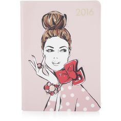 Henri Bendel 2016 Megan Hess Portrait Planner ($78) ❤ liked on Polyvore featuring home, home decor e stationery
