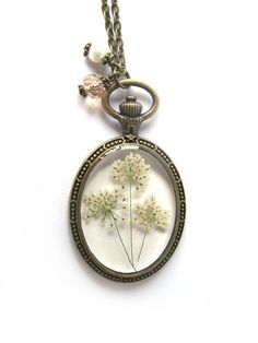 Queen Anne Lace Resin Pendant Necklace Real by ScrappinCop, $17.50. I really love this!