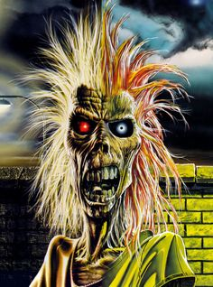 Eddie, also known as Eddie the Head, is the mascot for the British heavy metal band Iron Maiden Iron Maiden First Album, Iron Maiden Albums, Rock Posters, Band Posters, Hard Rock, Camisa Rock, Iron Maiden Cover, Eddie Iron Maiden, Iron Maiden Posters