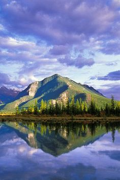 Sulphur Mountain reflected in the Third Vermillion Lake. Banff National Park, Alberta, Canada; photo by Jerry Mercier