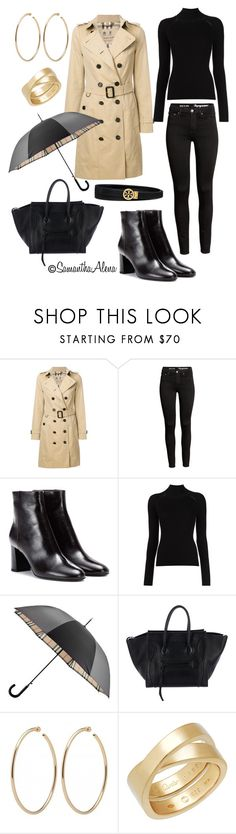 """""""Rainy Days"""" by samanthaalena ❤ liked on Polyvore featuring Burberry, Yves Saint Laurent, Misha Nonoo, CÉLINE, Cartier and Tory Burch"""