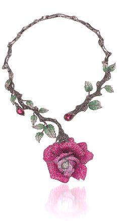Wendy Yue and her Rapacious Rose Necklace in white gold with rubies, pink sapphires, tourmalines, black and white diamonds, white sapphires and tsavorite garnets.