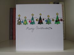Handmade Christmas Card - drawn and painted by hand. Christmas Trees and Lights Handmade Christmas Card - drawn and painted by hand. Christmas Trees and Lights Hand Christmas Tree, Painted Christmas Cards, Christmas Cards 2018, Christmas Card Crafts, Homemade Christmas Cards, Homemade Cards, Handmade Christmas, Holiday Cards, Christmas Decorations