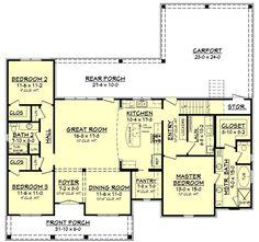 European Style House Plan - 3 Beds 2 Baths 1900 Sq/Ft Plan #430-144 Floor Plan - Main Floor Plan - Houseplans.com