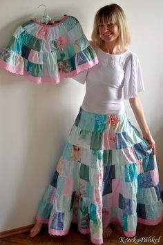 Foto NAGI's: Patchwork skirts for mother and daughter in mint and pink_