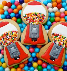 gumball machine decorated cookies are perfect for a kids birthday party