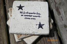 We Do Not Remember Days We Remember Moments ~ Black Stamped Travertine Tile Coaster Set With Star Accent by TrendyTrioDesigns on Etsy