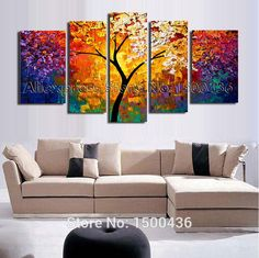 Hand Painted Abstract Tree Oil Painting On Canvas Modern Texture Palette Knife Art 5 Piece Home Decor Wall Picture Sets _ {categoryName} - AliExpress Mobile Fruit Painting, Oil Painting Abstract, Abstract Wall Art, Canvas Wall Art, Knife Painting, Painting Canvas, Texture Painting, Image Deco, Cheap Paintings