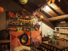ニコちゃん堂@奈良。 古民家を利用したカフェ。 屋根裏部屋にこたつあります。