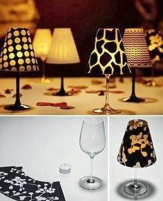 Portal de Manualidades: Centros de mesa hechos con copas y tela