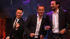 Hugh Jackman, Michael Fassbender & James McAvoy dance to Blurred Lines | The Graham Norton Show, May 2014. < BEST EPISODE I HAVE SEEN! HAHAHA THEY TALK ABOUT SHIPPING/ FANART /FANFIC SCENARIOS! haahhaa