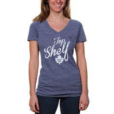 NHL Toronto Maple Leafs Women's Top Shelf Tri-Blend V-Neck Slim Fit T-Shirt - Navy Blue