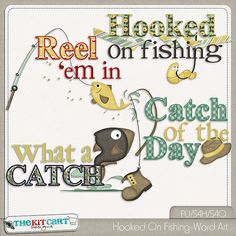 Hooked On Fishing-Word Art Digital Scrapbooking