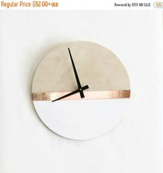 Modern Wall Clock, Trending Home Decor Art, White and Copper, Birch Wood Clock,  Housewares, Home and Living, Unique Wall Clock by Shannybeebo on Etsy https://www.etsy.com/listing/487701626/modern-wall-clock-trending-home-decor