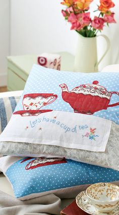 Kitsch Cup and Teapot Motif Cushions