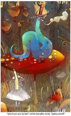 Alice in the Wonderland (by ~betteo on deviantART) Adventures In Wonderland, Alice In Wonderland, Trippy Mushrooms, Go Ask Alice, Alice Blue, Children's Book Illustration, Book Illustrations, Deviantart, Caterpillar
