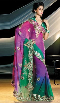 G3 Fashions Shaded Green Purple Chiffon Embroidered Partywear Saree  Product Code : G3-LS11773 Price : INR RS 7160