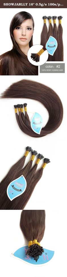 """SHOWJARLLY 16"""" 0.5g/s 100s/pack Pre Bonded Keratin Dark Brown(#2) I Tip Straight Remy Extensions Human Hair Extensions 50g. SHOWJARLLY Pre Bonded I Tip hair extensions is very popular permanent method which make your hair to become longer and thicker. Our I Tip hair extensions is made of 100% Remy human hair and the premium quality capsule adhesive which is strong ,safe ,no any damage for skin . Our hair extensions can be washed ,cut and styled just like your own hair . Items Details…"""