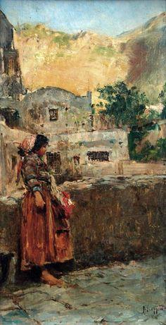 Scoppetta Pietro (Amalfi, Sa 1863 - Napoli 1920) Amalfitana olio su tavola cm 30x16,5