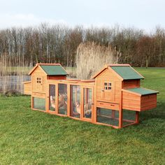 This large coop features two sleeping houses, two nesting boxes, and a large outdoor run with divider. This coop is ideal for free range chickens, and can safely house 6 standard size chickens or 10 bantams.