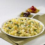 Mini Fusilli with Creamy Spinach and Chicken - This pleasing side dish combines mini-farfalle with garden vegetables, olive oil and fresh basil - a fast and easy spring and summer selection.