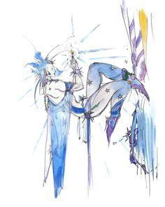 Shiva Concept Art from Final Fantasy III by Yoshitaka Amano