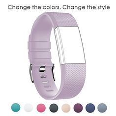 iSUN Sport Adjustable Soft Silicone Fitness Replacement Wristband for Fitbit Charge 2 HR  Fitbit Charge 2 Wrist Length 570Inch  826Inch Lavender -- You can get additional details at the image link.