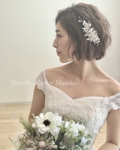 Wedding Hair Pins, Short Wedding Hair, Wedding Hair And Makeup, Wedding Simple, Evening Hairstyles, Bride Hairstyles, Easy Hairstyles, Bride Flowers, Flowers In Hair