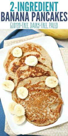 With 2 eggs and 1 banana, these quick-and-easy pancakes are naturally gluten-free, dairy-free, and Paleo-friendly. The bananas add natural sweetness while the eggs give you a nice amount of protein that will keep your family satisfied longer than typ Banana Egg Pancakes, Banana And Egg, Pancakes Easy, Paleo Pancakes, Healthy Banana Pancakes, Low Calorie Pancakes, 3 Ingredient Pancakes Banana, Pancakes From Bananas, Flourless Banana Pancakes