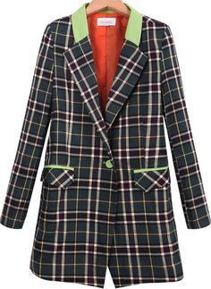 Green Lapel Long Sleeve Plaid Pockets Blazer - Sheinside.com