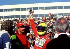 Ayrton Senna with Nigel Mansell