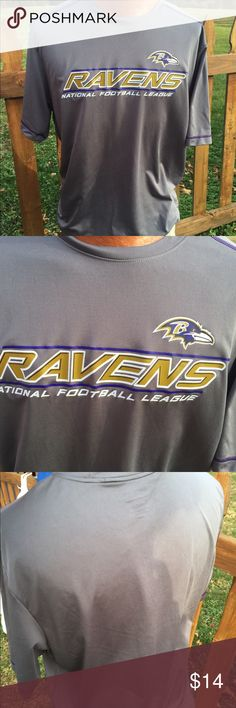 NFL Team Apparel Baltimore Ravens Shirt Size XL Size XL. 100% polyester. Super gently preowned. Be sure to view the other items in our closet. We offer both women's and Mens items in a variety of sizes. Bundle and save!! Thank you for viewing our item!! NFL Apparel Shirts Tees - Short Sleeve