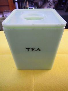 Vintage Square Lidded Jadeite Tea Jar Tea Jar, Vintage Pyrex, Container, Ebay, Tableware, Canisters