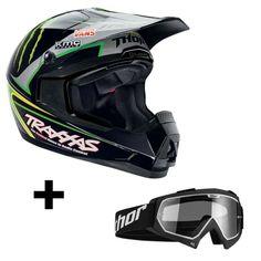 Casque moto cross Thor QUADRANT PRO CIRCUIT 2014 + masque ENEMY SOLID BLACK - Ixtem-moto.com