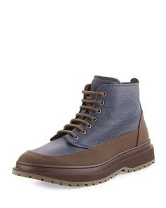 Leather Lace-Up Boot, Navy