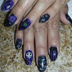 nightmare before christmas nails done by adrienne shaffer at glamour girlz nails pinterest - Nightmare Before Christmas Nail Art