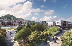 An artist's impression of: Freespace, with view from the Cultural Boulevard.