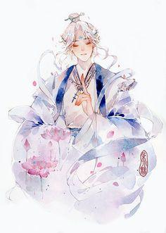Manga Watercolor, Watercolor Illustration, Watercolor Paintings, Manga Illustration, Pretty Drawings, Cute Kawaii Drawings, Colorful Drawings, Gouache, Art Sketches