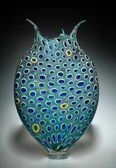 Forest & Aqua Foglio by David Patchen: Art Glass Vessel available at www.artfulhome.com