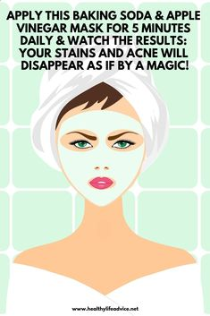 Apply This Baking Soda And Apple Vinegar Mask For 5 Minutes Daily And Watch The Results: Your Stains And Acne Will Disappear As If By A Magic! - Care - Skin care , beauty ideas and skin care tips Beauty Care, Beauty Hacks, Beauty Skin, Diy Beauty, Face Beauty, Beauty Ideas, Homemade Beauty, Star Beauty, Best Face Products