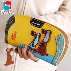 Cartoon dog women purse bag designer wallets famous brand women wallet 2016 long money clip dollar price zipper coin pockets